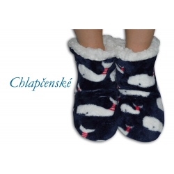 Modré chlapčenské papuče s veľerybov