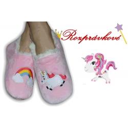 Ružové detské papučky s jednorožcom