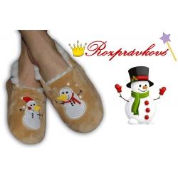 Zlaté detské papučky so snehuliakmi