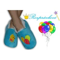 POSLEDNÝ KUS 24-27! Modré detské papuče s balónikmi