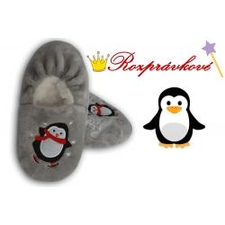 Vtipné sivé detské papuče s tučniakom