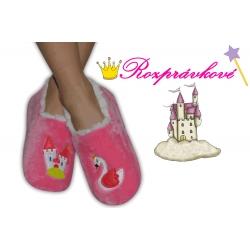 Ružové detské papuče s labuťou