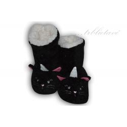 Trblietavé dámske čierne papuče s očami