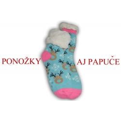 Tyrkysové ponožkové papuče so sobmi