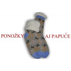 Sivé ponožkové papučesso sobmi