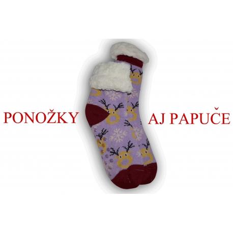 Fialové ponožkové papuče so sobmi