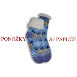 Modré ponožkové papuče so sobmi