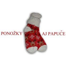 Červené ponožkové papuče so sobmi