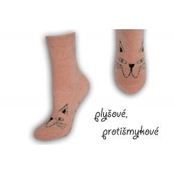Marhuľové plyšové protišmykové ponožky
