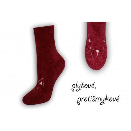 Bordové plyšové protišmykové ponožky