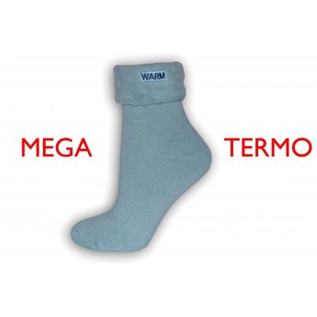 Mega termo ponožky so zdravotným lemom - modré
