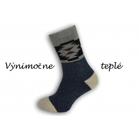 Výnimočne teplé ponožky z najjemnejšej vlny alpaky - modré