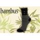 Pásikavé bambusové ponožky s kotvičkami – čierne