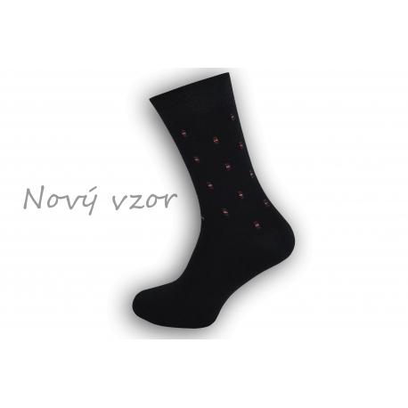 Netradičné tm.modré oblekové ponožky so vzorom