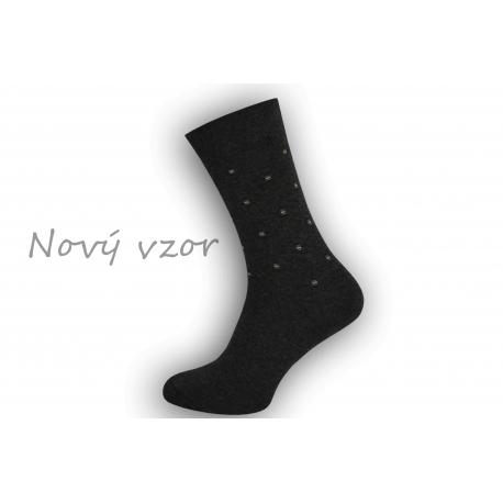 Netradičné tm.sivé oblekové ponožky so vzorom