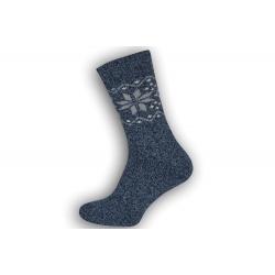 Super teplé pánske ponožky z vlny - modré