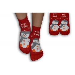 Detské ponožky s veselým obrázkom snehuliaka