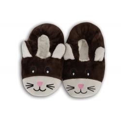 Hnedé nízke detské papuče s obrázkom