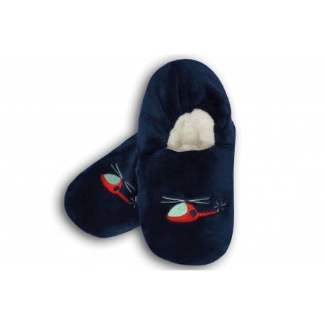 Tm. modré chlapčenské papuče s vrtulníkom