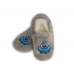 IBA 24-27! Sivé chlapčenské papuče s kozmickou loďou