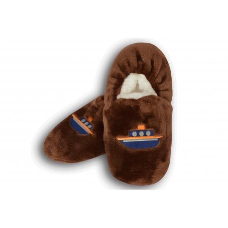 Chlapčenské hnedé papuče s loďkou