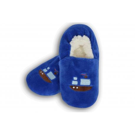 Chlapčenské jednofarebné papuče s loďou