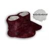Bordové kožušinkové  papučky s bodkami