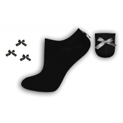 Luxusné čierne ponožky s mašličkou