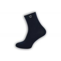 Luxusné  tm. modré ponožky s vyšším kotníkom