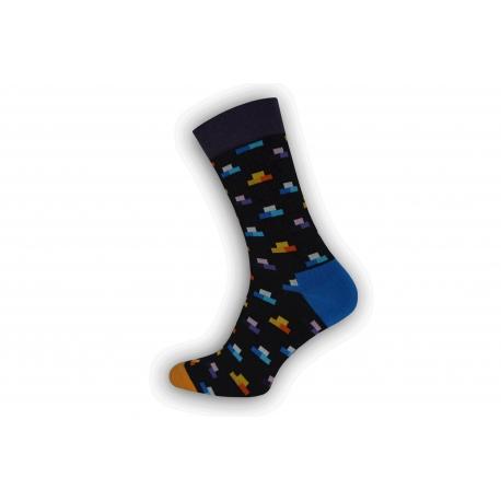 Vzorované farebné pánske ponožky  - pixely