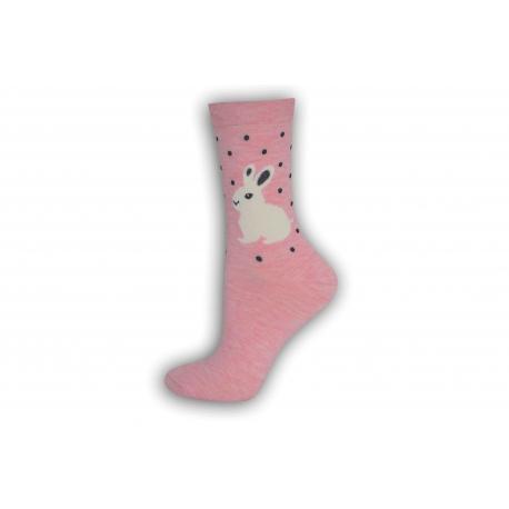 Vzorované ružové dámske ponožky so zajacmi