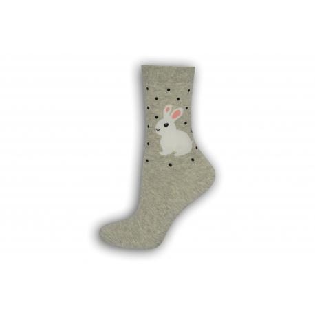 90%-né  bavlnené ponožky so zajacmi