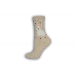 90%-né bavlnené béžové ponožky so zajacmi