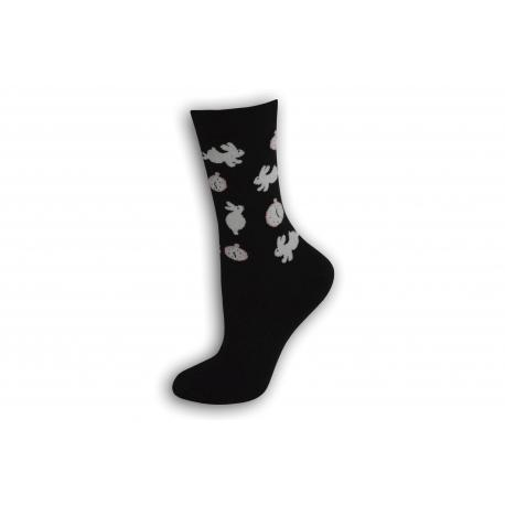 90%-né bavlnené modré ponožky so zajacmi