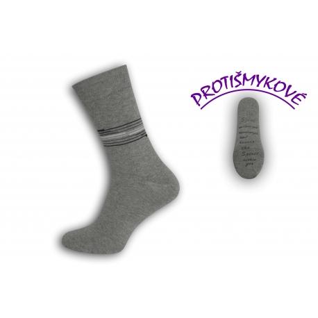 Protišmykové tenké sivé pánske ponožky