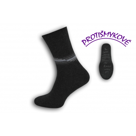 Protišmykové tenké antracitové pánske ponožky