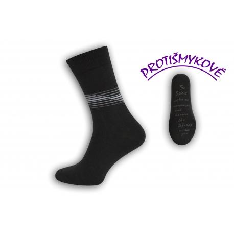 Protišmykové tenké tm. sivé pánske ponožky