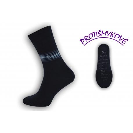 Protišmykové tenké tm.modré pánske ponožky