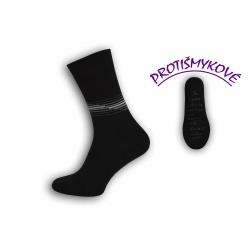 Čierne protišmykové tenké pánske ponožky