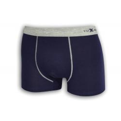 Modré bavlnené boxerky so sivou gumou
