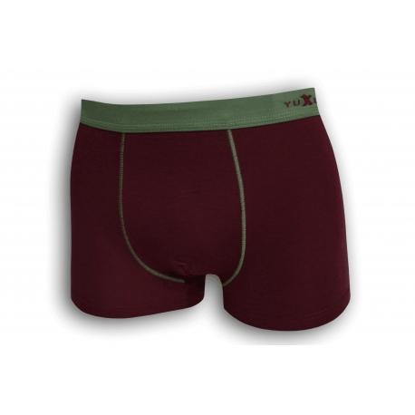 Bordové bavlnené boxerky so zelenou gumou