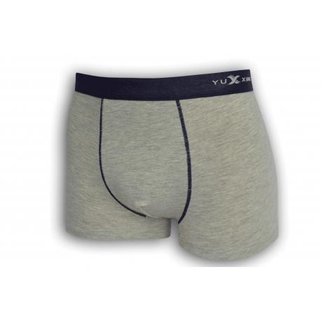 Sivé bavlnené boxerky s modrou gumou