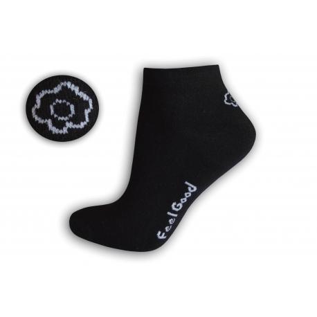Čierne dámske ponožky s kvetinkou