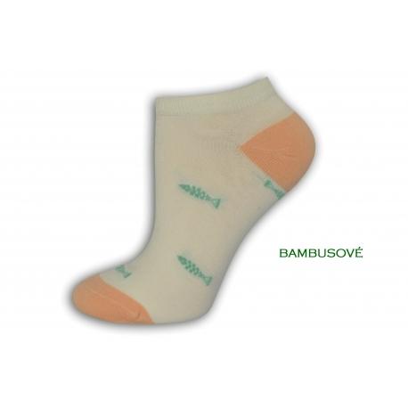 Bambusové smotanové ponožky s rybkami