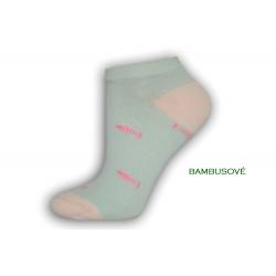 Vzorované mentolové ponožky s rybkami