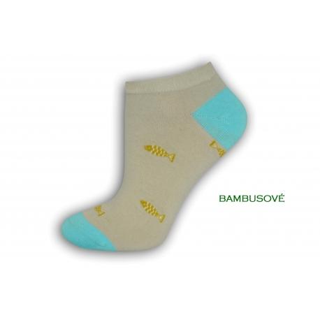 Vzorované sivé ponožky s rybkami