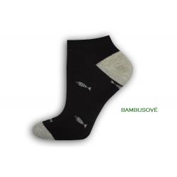 Vzorované čierne ponožky s rybkami