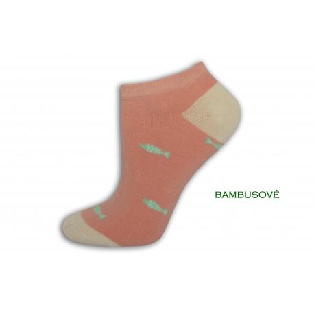 Vzorované ružové ponožky s rybkami