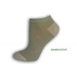 Vzorované sivo-zelené ponožky s rybkami