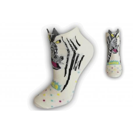 Kotníkové ponožky so zebrou - biele